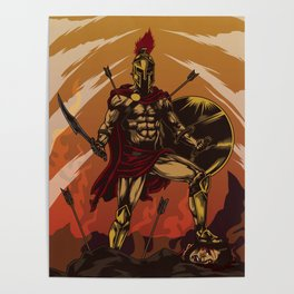 Spartan Warrior Triumphs Over His Enemies Poster