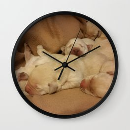 The Huddle with yellow lab puppies Wall Clock