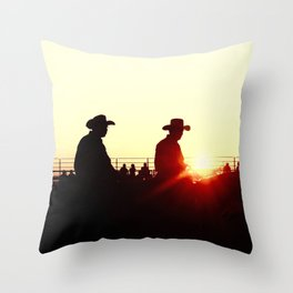 sundown rodeo Throw Pillow