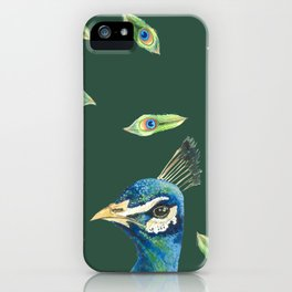 Watercolor Peacock in Green iPhone Case