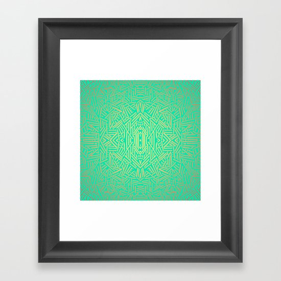 Radiate (Yellow/Ochre Teal- non metallic) Framed Art Print