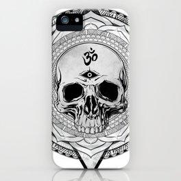 Life Touches The Seeker Ajna Skull Mandala Geometric Triangle BW iPhone Case
