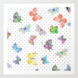 Colorful pink teal watercolor hand painted butterfly polka dots Art Print