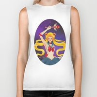 sailor moon Biker Tanks featuring Sailor moon by Tae V