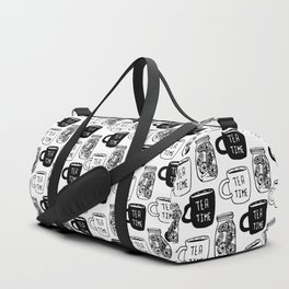 Abstract black white tea cups modern typography Duffle Bag