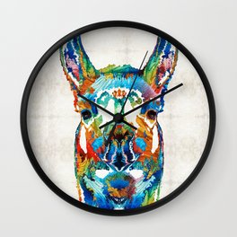 Colorful Llama Art - The Prince - By Sharon Cummings Wall Clock