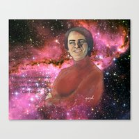 carl sagan Canvas Prints featuring Carl Sagan  by Madison Gremillion