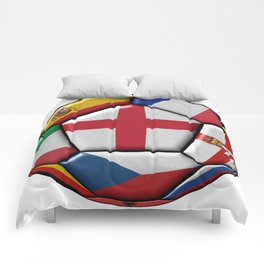 Soccer ball with flag of England in the center Comforters