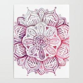 Burgundy Blush Watercolor Mandala Poster