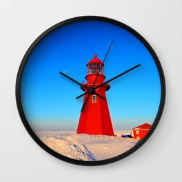 Lighthouse  and Frozen Sea Wall Clock