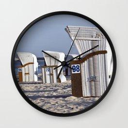 White Beach Chairs Wall Clock