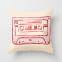 tape Throw Pillows featuring tape by muskawo
