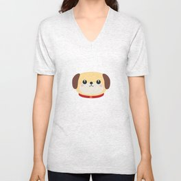 Cute puppy Dog with red collar Unisex V-Neck