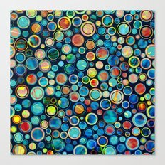 Dots on Painted Background Canvas Print