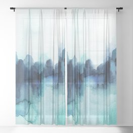 Wonderful blues Abstract watercolor Sheer Curtain
