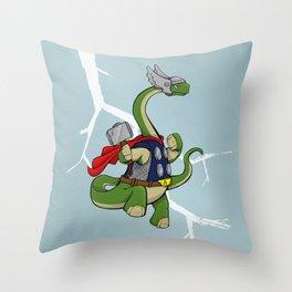 "Bronto""THOR""us - God of Thunder Lizards Throw Pillow"