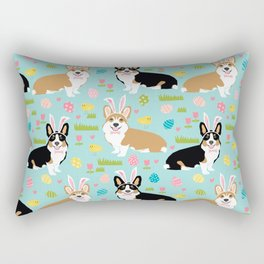 Corgi easter dog breed pattern pet art tricolored and red corgis easter portrait Rectangular Pillow