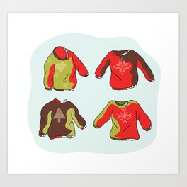 Nordic Christmas Jumper Clipart Set. Hand Drawn Embroidered Ugly Sweater Art Print