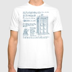 Tardis Plan SMALL Mens Fitted Tee White