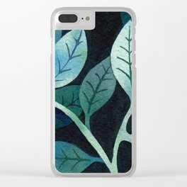 Watercolor leaves in shades of blue and teal Clear iPhone Case