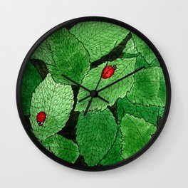 Ladybug Leaf Pattern Wall Clock