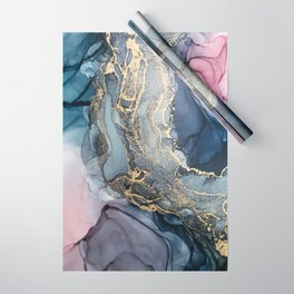 Blush, Payne's Gray and Gold Metallic Abstract Wrapping Paper