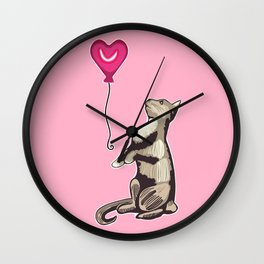 Cat with a Heart Balloon Illustration Wall Clock
