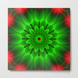 Mandala Green Metal Print