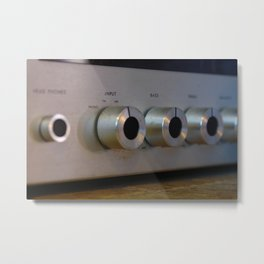 Analog stereo knobs metal Metal Print
