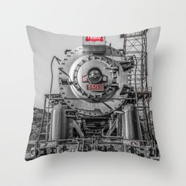 Frisco Locomotive 4500 The Meteor Selective Color Isolation Red Vintage Steam Engine Throw Pillow