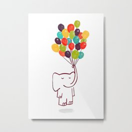 Flying Elephant Metal Print