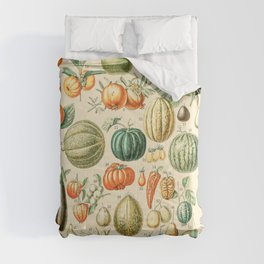 Autumn Harvest // Fruits by Adolphe Millot XL 19th Century Pumpkins Science Textbook Artwork Comforters