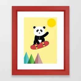 Panda on a skateboard Framed Art Print