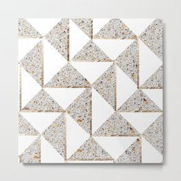 Gold Shimmer and Mixed Grain Geometric Pattern #2 Metal Print