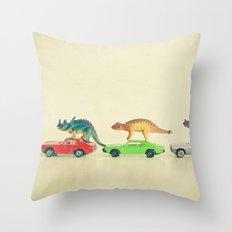 Dinosaurs Ride Cars Throw Pillow
