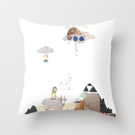 Hermit Crab vs. Snail Throw Pillow