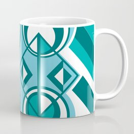 Striped Blue White and Teal Falling Eccentric Circles Abstract Art Coffee Mug