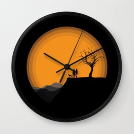 Couple With Dog Wall Clock