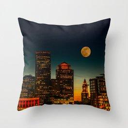 Boston Pink  Moon Throw Pillow