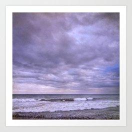 Purple sunset at the beach Art Print