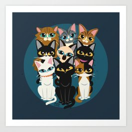 Nine cats Art Print