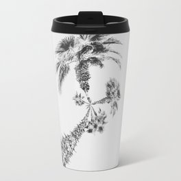 palm tree with clear sky background in black and white Travel Mug