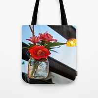 outdoor Tote Bags featuring Outdoor Decor by Kim Ramage