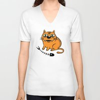 my mad fat diary V-neck T-shirts featuring FAT CAT by Alberto Corradi