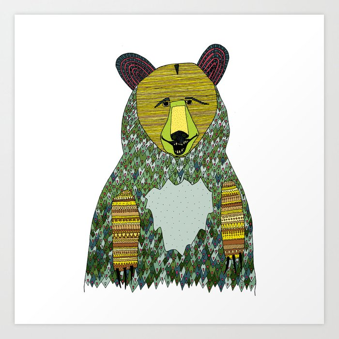 color bear square Art Print