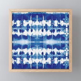 Shibori Tie Dye Indigo Blue Framed Mini Art Print