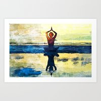 yoga Art Prints featuring yoga by Chantale Roger