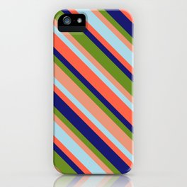 Vibrant Green, Dark Salmon, Light Blue, Red, and Midnight Blue Colored Lined Pattern iPhone Case