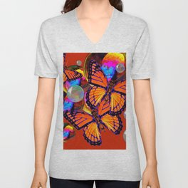 DECORATIVE MONARCH BUTTERFLIES & SOAP BUBBLES  ON TURMERIC  COLOR ART Unisex V-Neck