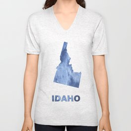 Idaho map outline Blue clouds watercolor pattern Unisex V-Neck